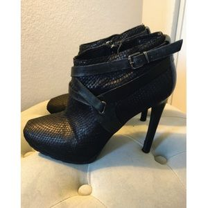 Guess Black Stiletto Bootie w Silver Buckles